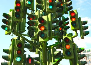 Confusing Traffic Lights At A Busy Intersection In London